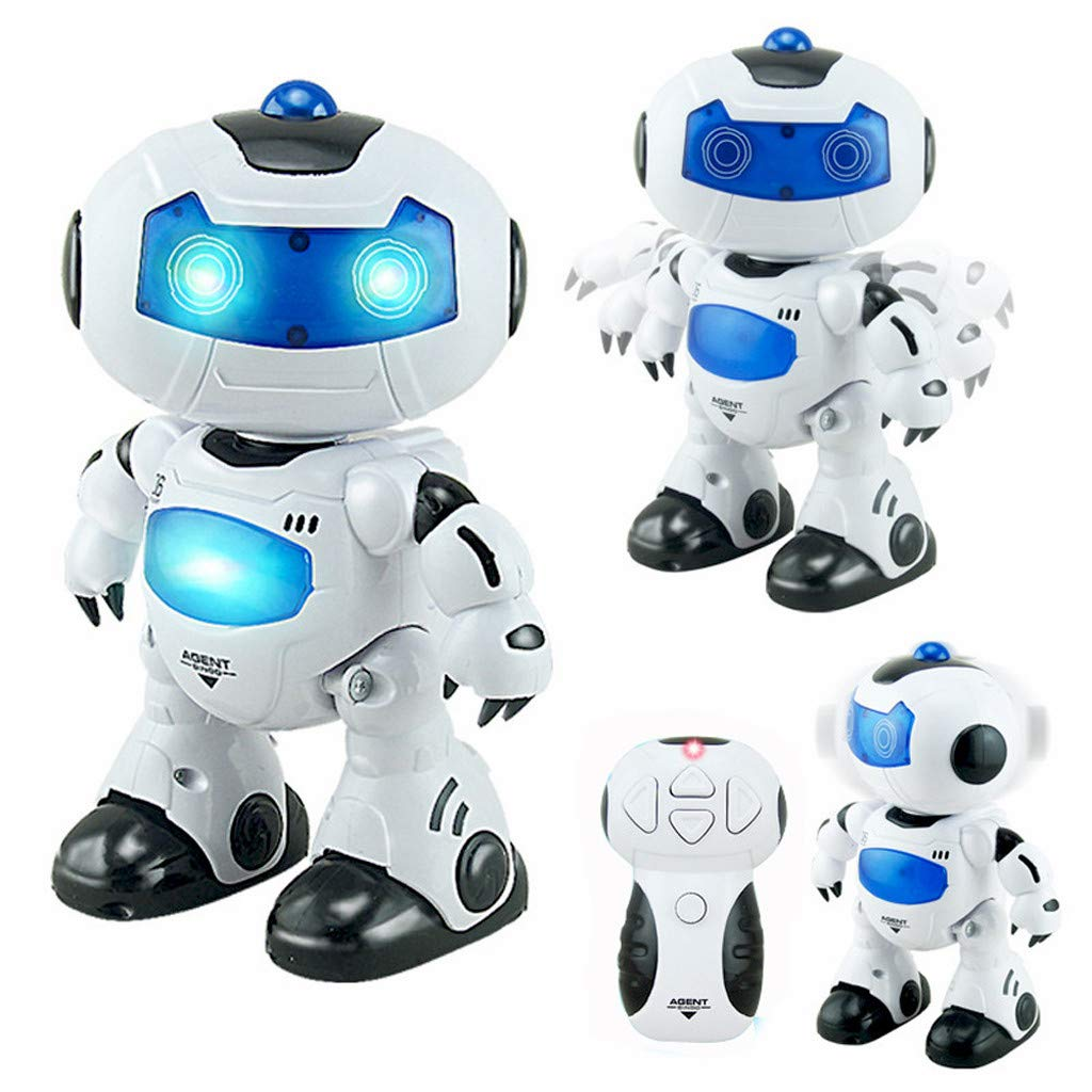 sunnymi Kids Remote Control Robot Toy - RC Music & Light Remote Control Robot Toy Intelligent Walking Space Robot Toy (white)