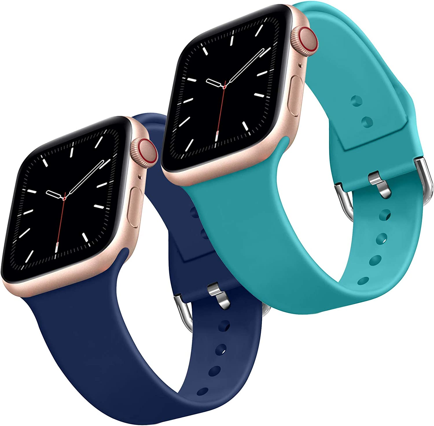 2 Pack Soft Silicone Sport Band Replacement Wrist Strap for Apple Watch Band 44mm 42mm, Compatible for iWatch Series 6/SE/5/4/3/2/1