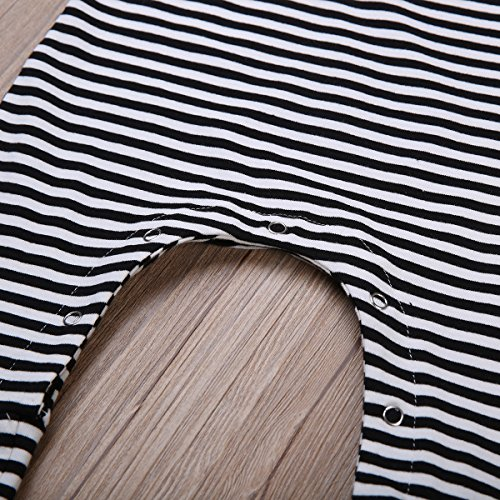 ITFABS Newborn Baby Boy Girl Cute Striped Jumpsuit Sleeveless Romper Outfit Clothes (100(18-24months), Black/White)