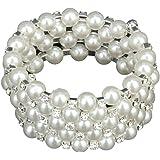 Gleader Braccialetto da sposa Moda nuziale strass di cristallo perla braccialetto elastico 5 righe