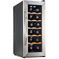 Ivation 12-Bottle Premium Thermoelectric Freestanding Wine Cooler Fridge Cellar Refrigerator (Stainless Steel with Wood Shelves)