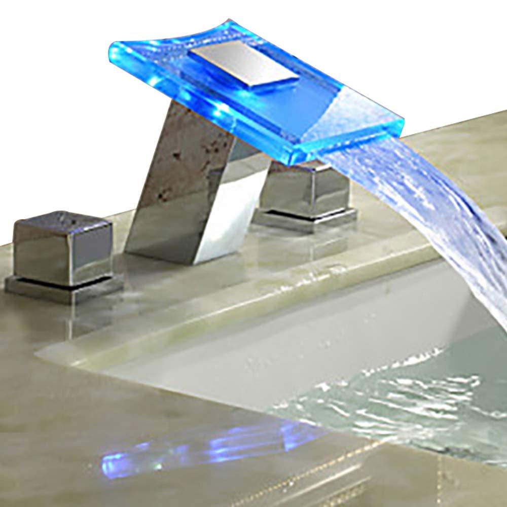 Faucet LED desktop waterfall faucet three-piece basin faucet