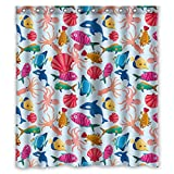 Colorful Fish Shower Curtain GCKG Unique Colorful Underwater Sealife Shell Fish Octopus Shower Curtain 66