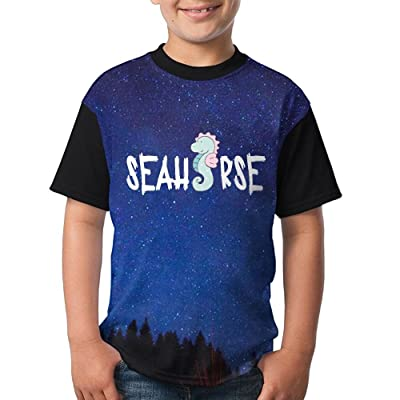 Cartoon Seahorse Girls Simple Sleeve T-Shirt