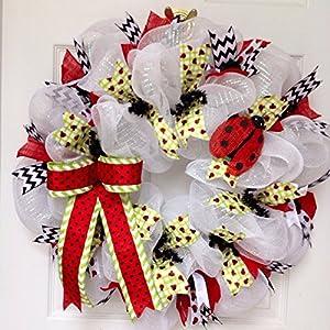 Adorable Lady Bug Handmade Deco Mesh Wreath 11