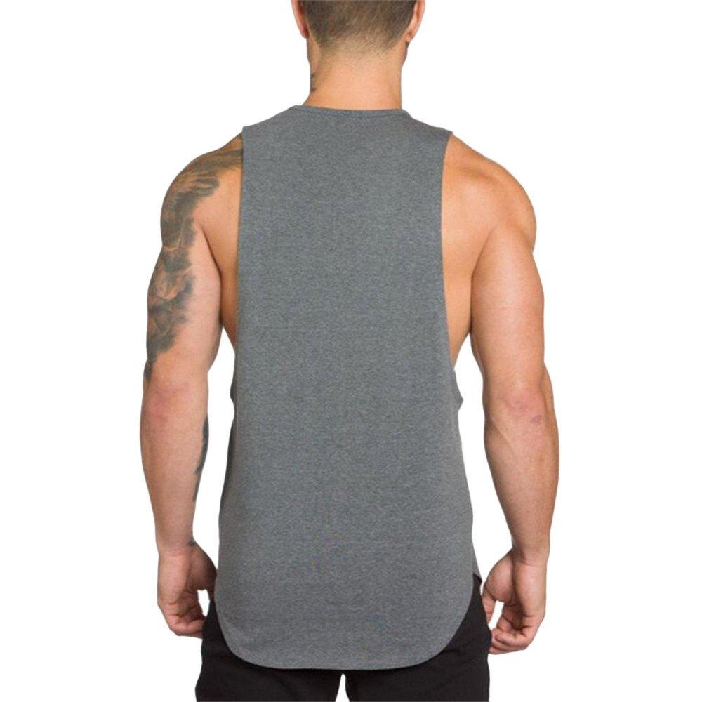 MODOQO Men's Tank Tops Fitness Sleeveless Cotton O-Neck T-Shirt Gym Vest(Grey,L) by MODOQO (Image #3)