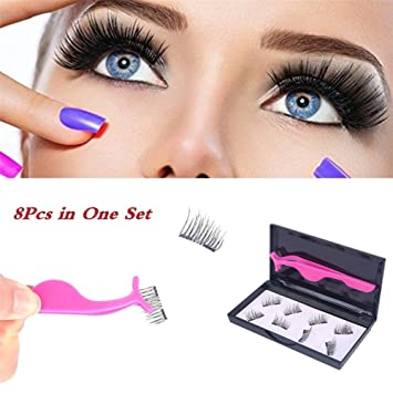 Buy Fancyku Eyelashes Dual Magnet Glue Free 3d Reusable Premium Quality Natural Look Best False Lashes 8 Pieces In One Box Online At Low Prices In India Amazon In
