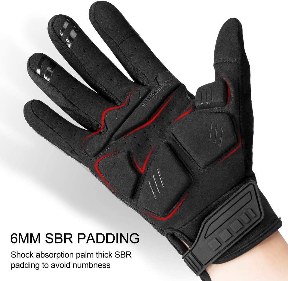 ROCKBROS Motorcycle Gloves Mountain Bike Gloves Full Finger Outdoor Gloves for Men Touch Screen Military Rubber Hard Knuckle Tactical Gloves for Cycling Hiking Motorcycle BMX MX ATV Working Black