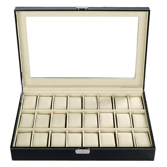 611e54725066 Anself Caja de Relojes Madera Uten Estuche para Relojes y Joyeros con 24  Compartimentos (24