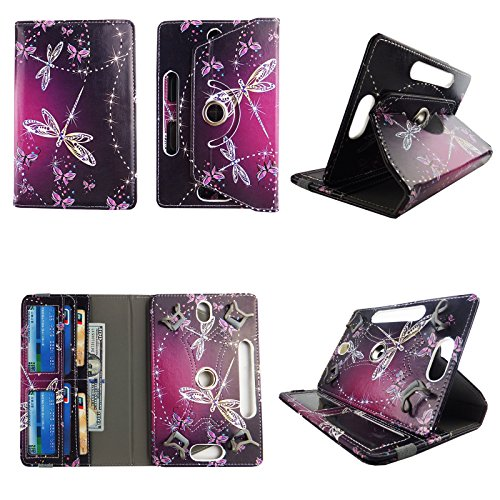 Sparkly Butterfly tablet case 7 inch for Ellipsis 4g LTE android tablet cases 360 rotating slim folio stand protector pu leather cover travel e-reader cash slots (Ellipsis Case Butterfly 7)