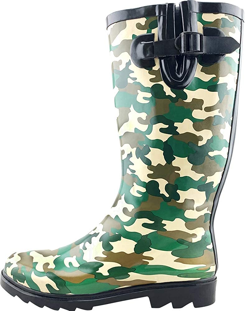 Green Camouflage Cambridge Select Women's Waterproof Pattern Print Knee High Welly Rain Boot