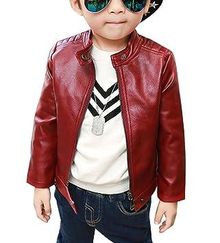 d12f701a5 LaoZan Niños Chaqueta De Cuero Sintético Ropa De Abrigo Cazadora Primavera  Otoño Rojo 110cm: Amazon.es: Deportes y aire libre