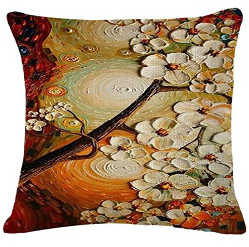 Oil Painting large tree White petals Cotton Linen Throw Pillow Case Cushion Cover Home Sofa Decorative 18 X 18 Inch£¨3£ ¡ (Petals Oil Painting)