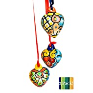 Mexican Talavera Heart Ornaments Set- 3 Different Hand Painted Ceramic Hearts with Ribbon