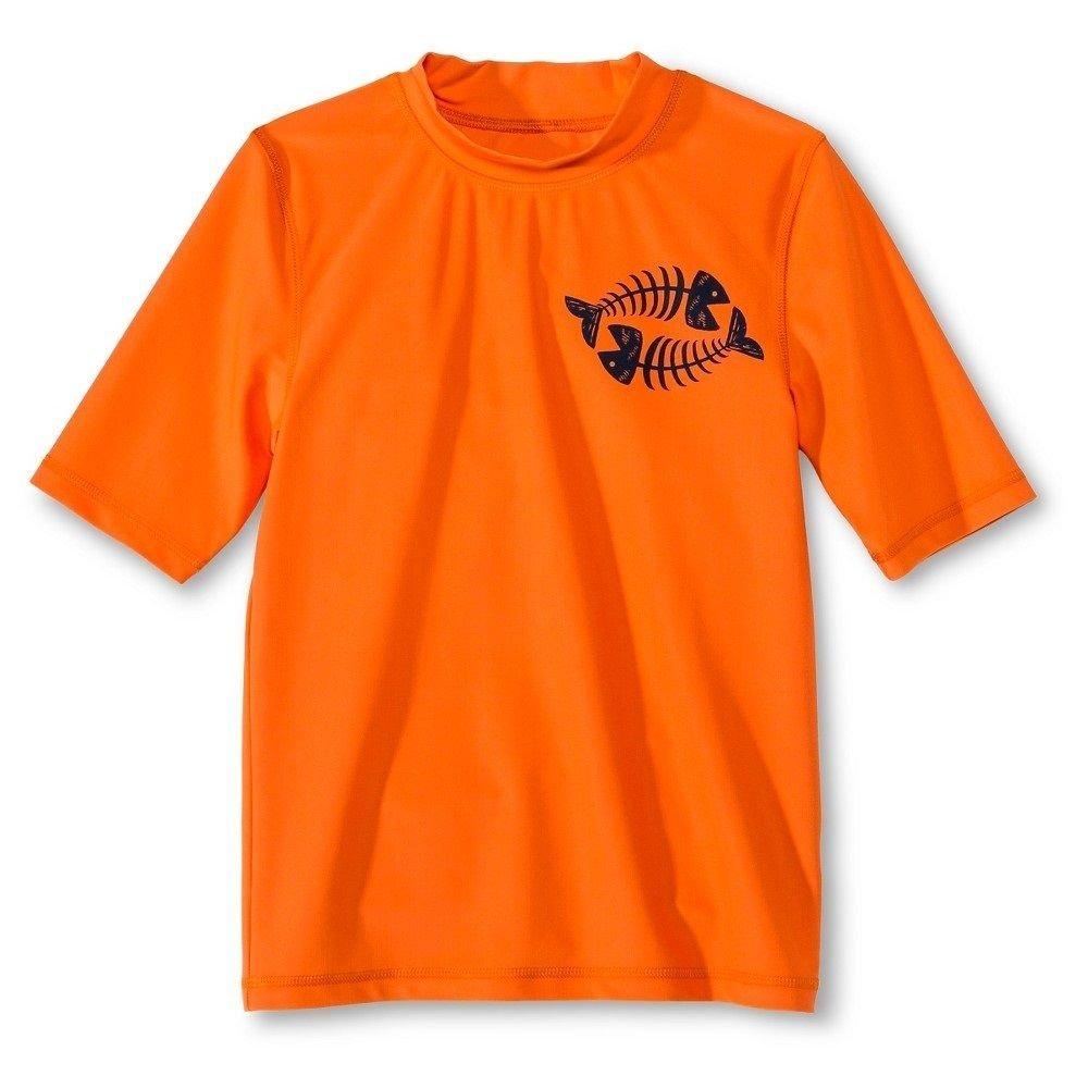 Boy's Rash Guard Swim Shirt by Cherokee Orange) Masked Brand