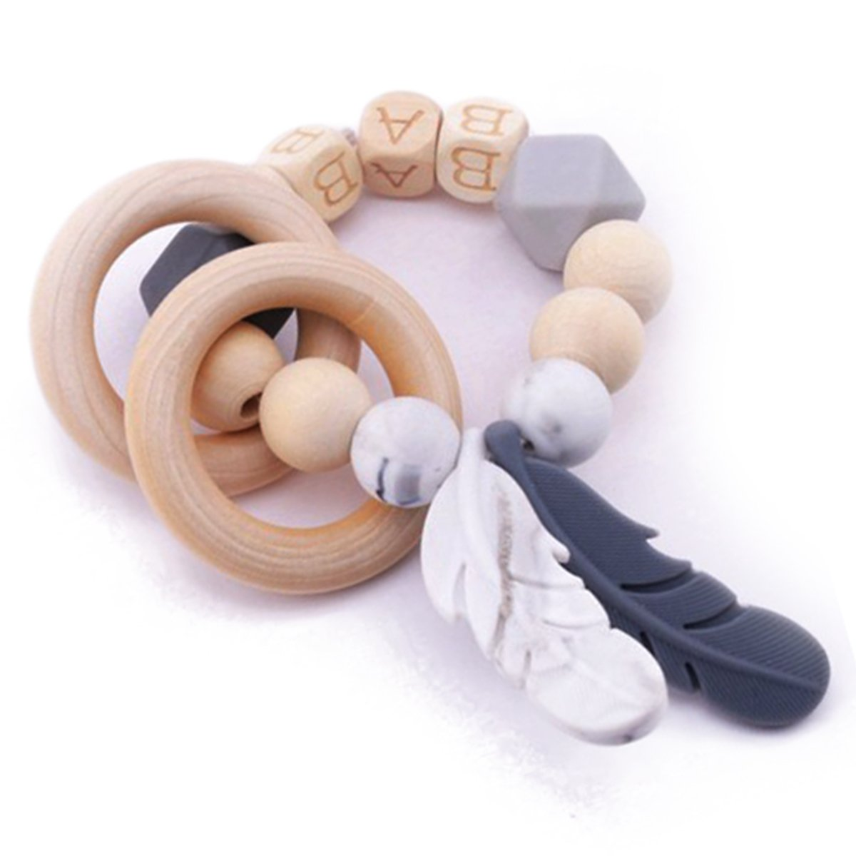 baby tete Baby Holz Beißring Häkeln Perlen Pflegearmband Ring Lebensmittelqualität Materialien Sensorisches Greifen von Spielzeug Montessori Spielzeug