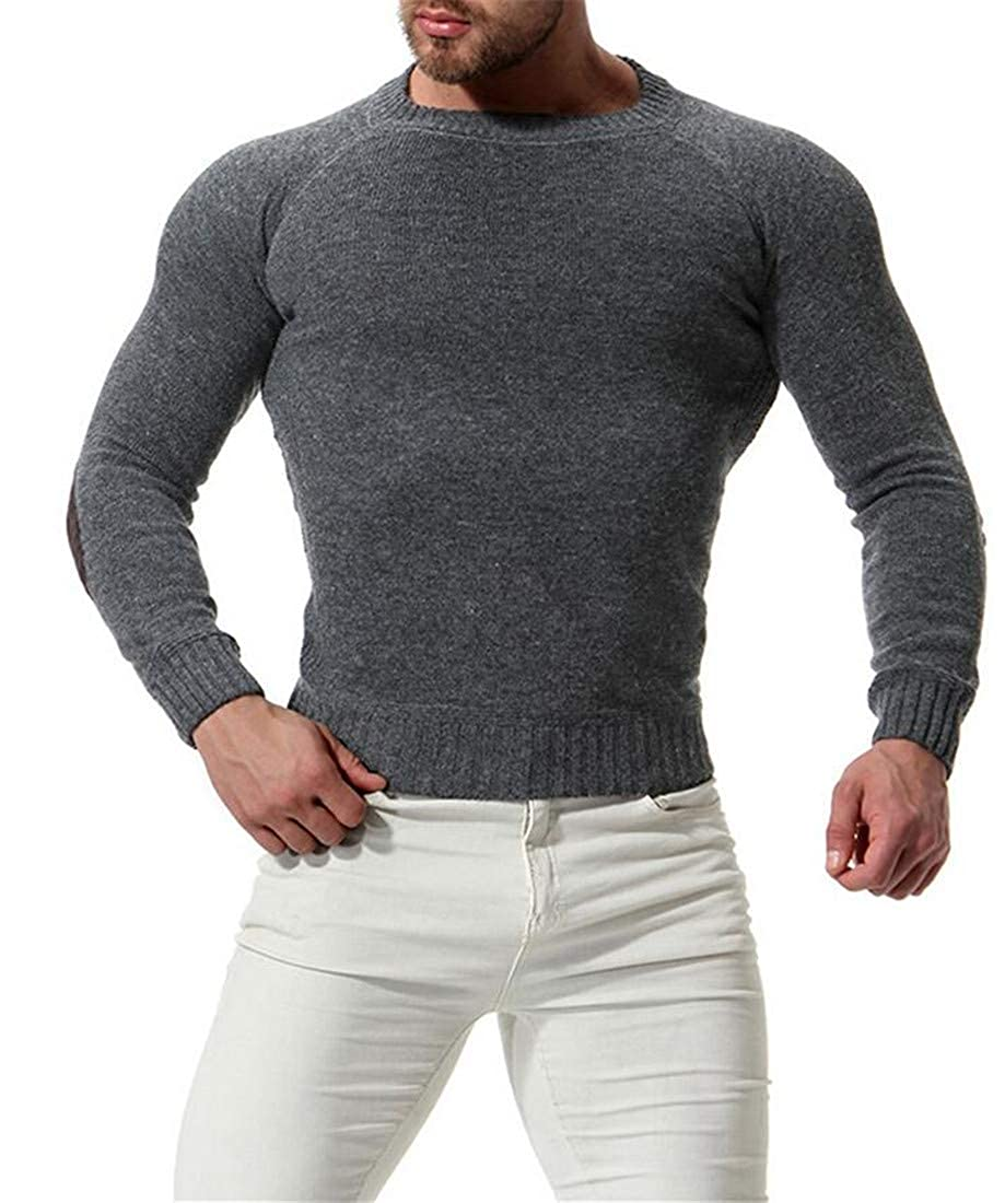CRYYU Men Pullover Slim Fit Knitted Long Sleeve Crew Neck Elbow Patch Sweater