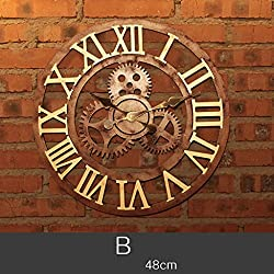 Wall Clock Nordic Creative Wall Clock Modern Minimalist Personality Fashion Roman Numerals Quartz Clock Living Room Bedroom Study Mute Wall-Mounted Clock (Color : 2)