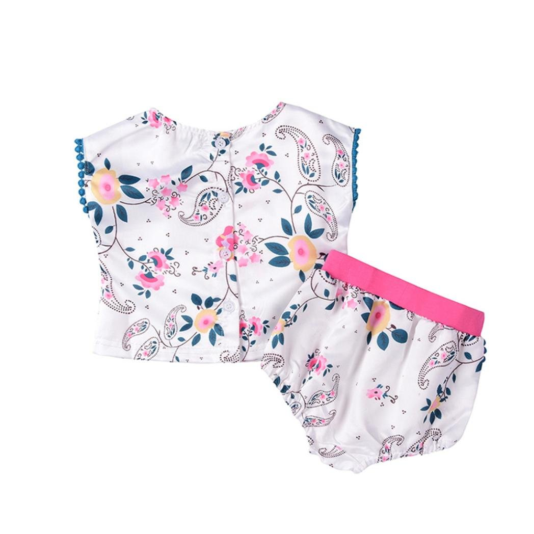 Moonker Newborn Infant Baby Girl Outfits Clothes Set Floral Ruffles Top Shorts
