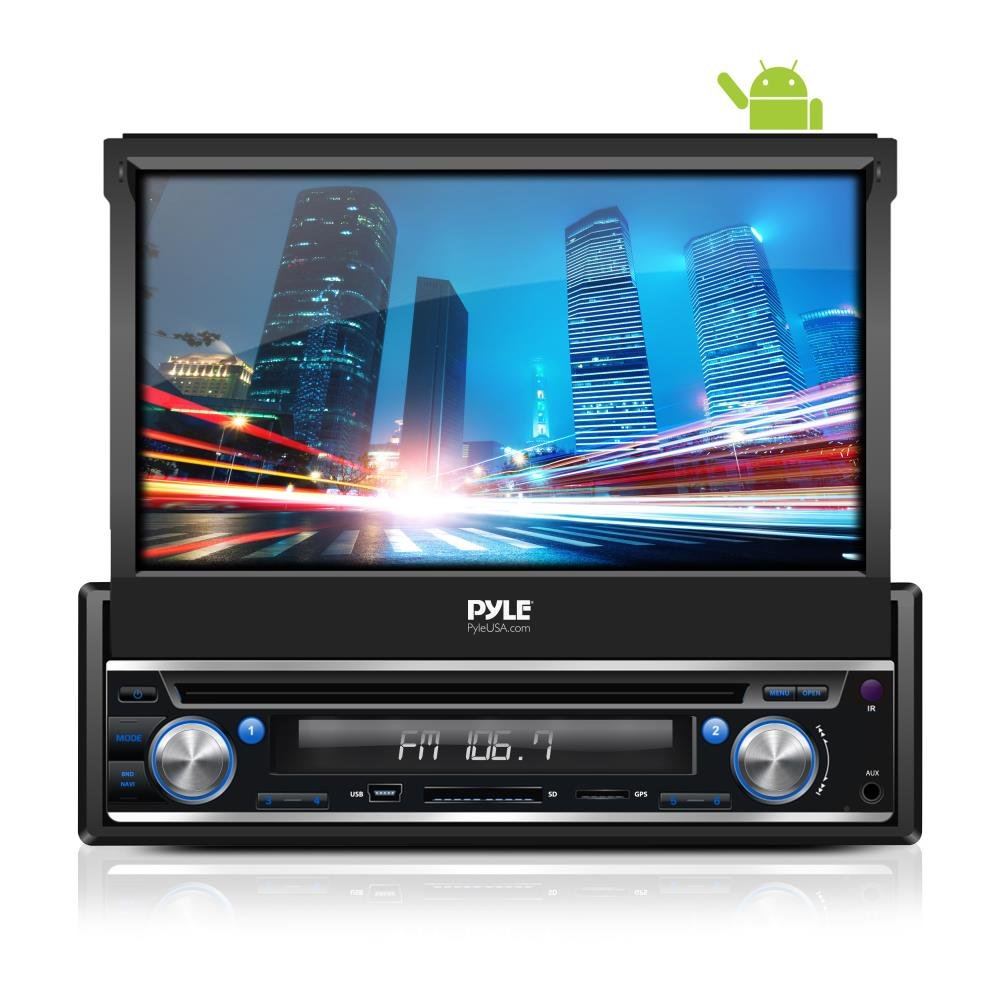 Premium 7In Single-DIN Android Car Stereo Receiver With Bluetooth and GPS Navigation - Pop-Out Touchscreen Motorized Slide-Out Display Screen With Wi-Fi Web Browsing And App Download by Pyle (Image #1)
