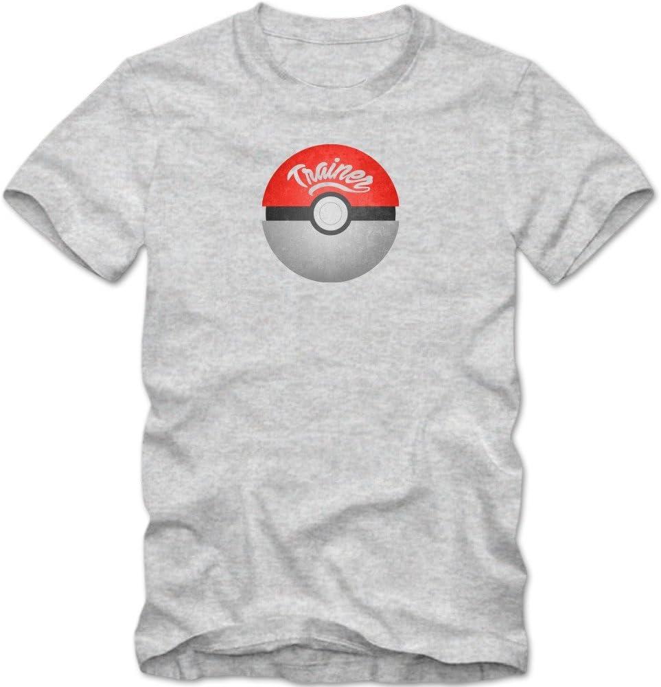 Pokemon Trainer Camiseta | Hombre | Pokeball | Ash Ketchum | Arena | Go | T-Shirt, Colour:Grey Basic (Heather Grey Melange);Size:Small: Amazon.es: Ropa y accesorios