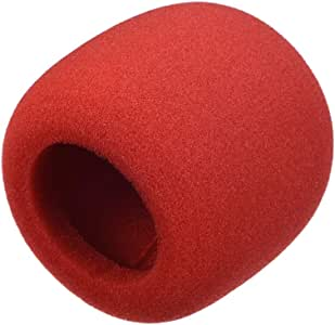uxcell 2PCS Thicken Ball-Type Sponge Foam Mic Cover Handheld Microphone Windscreen Shield Protection Red for KTV Broadcasting