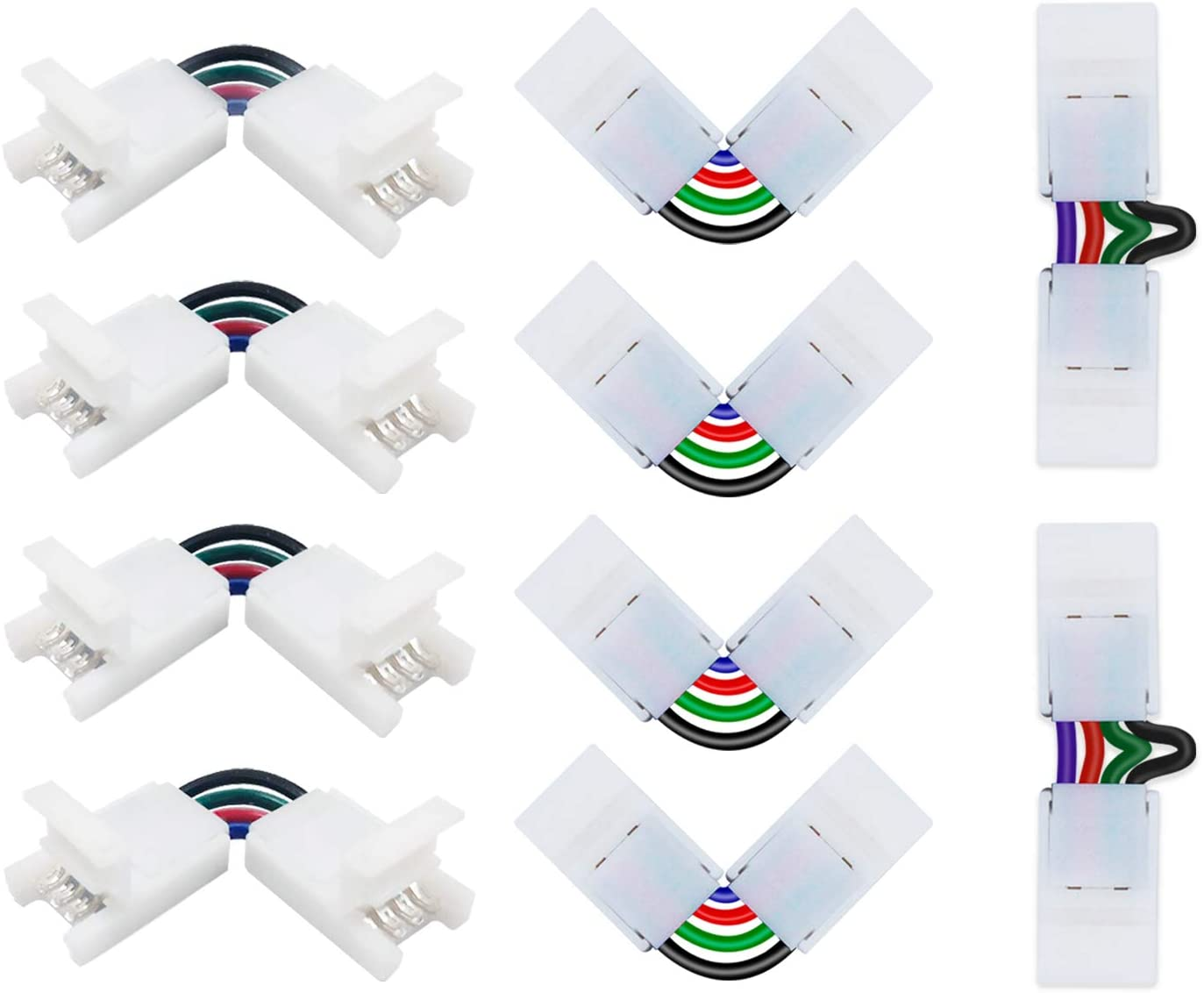 2 T Shape connectors for SMD Strip 10 New Angle Adjustable 4Pin L Shape connectors RGB Led Light Strip Connectors- Includes 6 10mm Gapless Connectors 18 Pcs