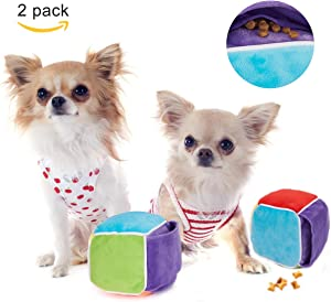 Pack of 2 Cute Interactive Dog Toys, Treat Dispensing Dog Toys for Food Puzzle - Designed Snuffle Cube as Snuffle Mat for Puppy Brain Puzzle Dog Games Sniffing Train