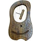 Gravure Lyre Harpe 10cordes en métal Housse de transport et clé en bois de sheesham