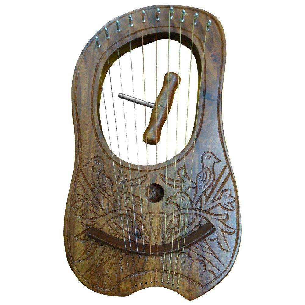 Lira, madera grabada de palo de rosa, 10 cuerdas de metal, incluye funda de transporte y llave para afinar. Tartancity