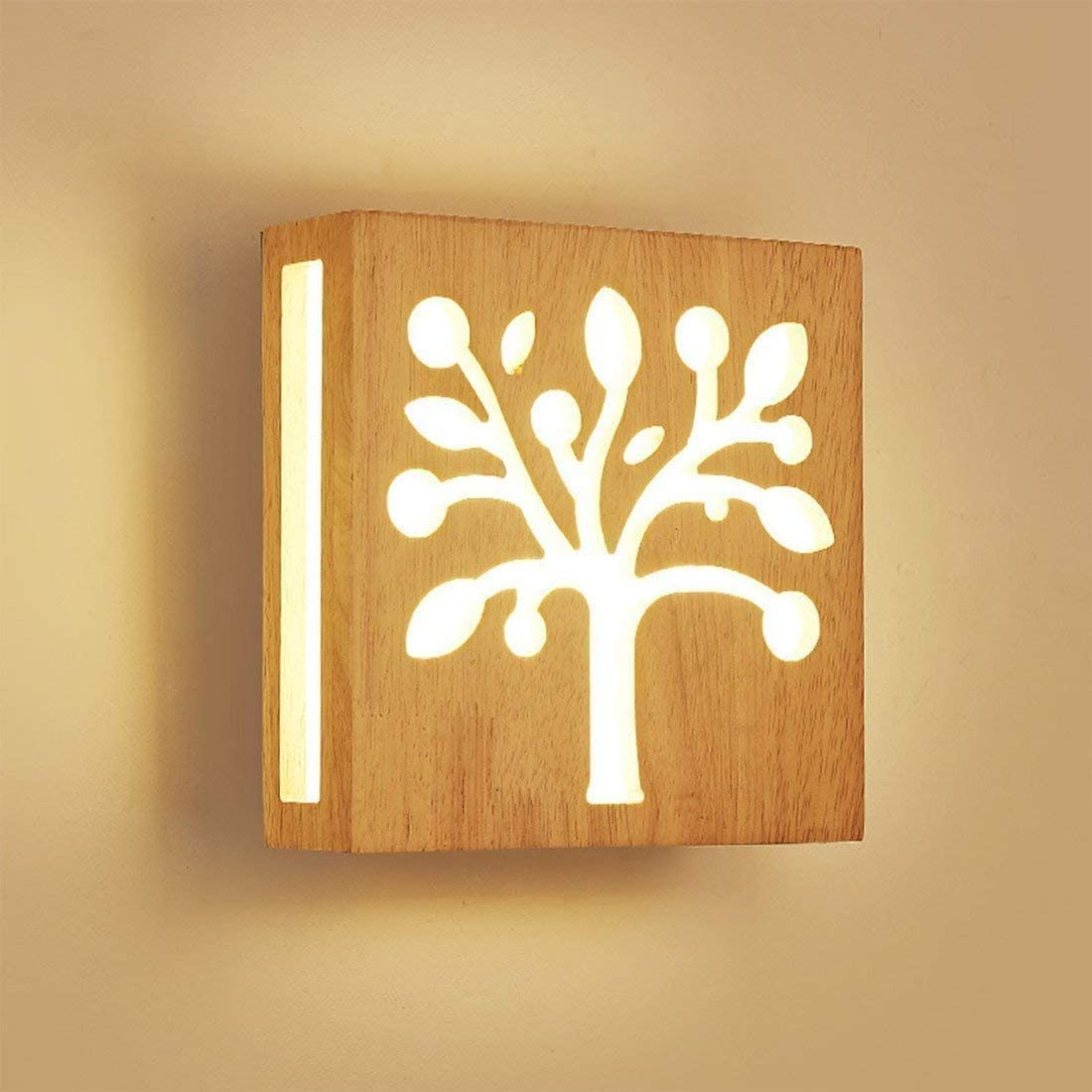 12W Luz calida LED Aplique de pared Madera Hueco Escultura Árbol Moderno Creativo Cuadrado Lámpara de pared Luces nocturnas para Niños Cuarto Cabecera Sala Pasillo Design Escalera Art Decoración: Amazon.es: Iluminación