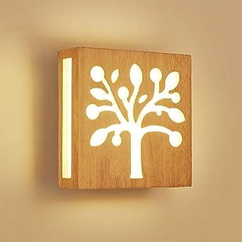 12W Luz calida LED Aplique de pared Madera Hueco Escultura Árbol Moderno Creativo Cuadrado Lámpara de pared Luces nocturnas para Niños Cuarto Cabecera Sala Pasillo Design Escalera Art Decoración: Amazon.es: Iluminación