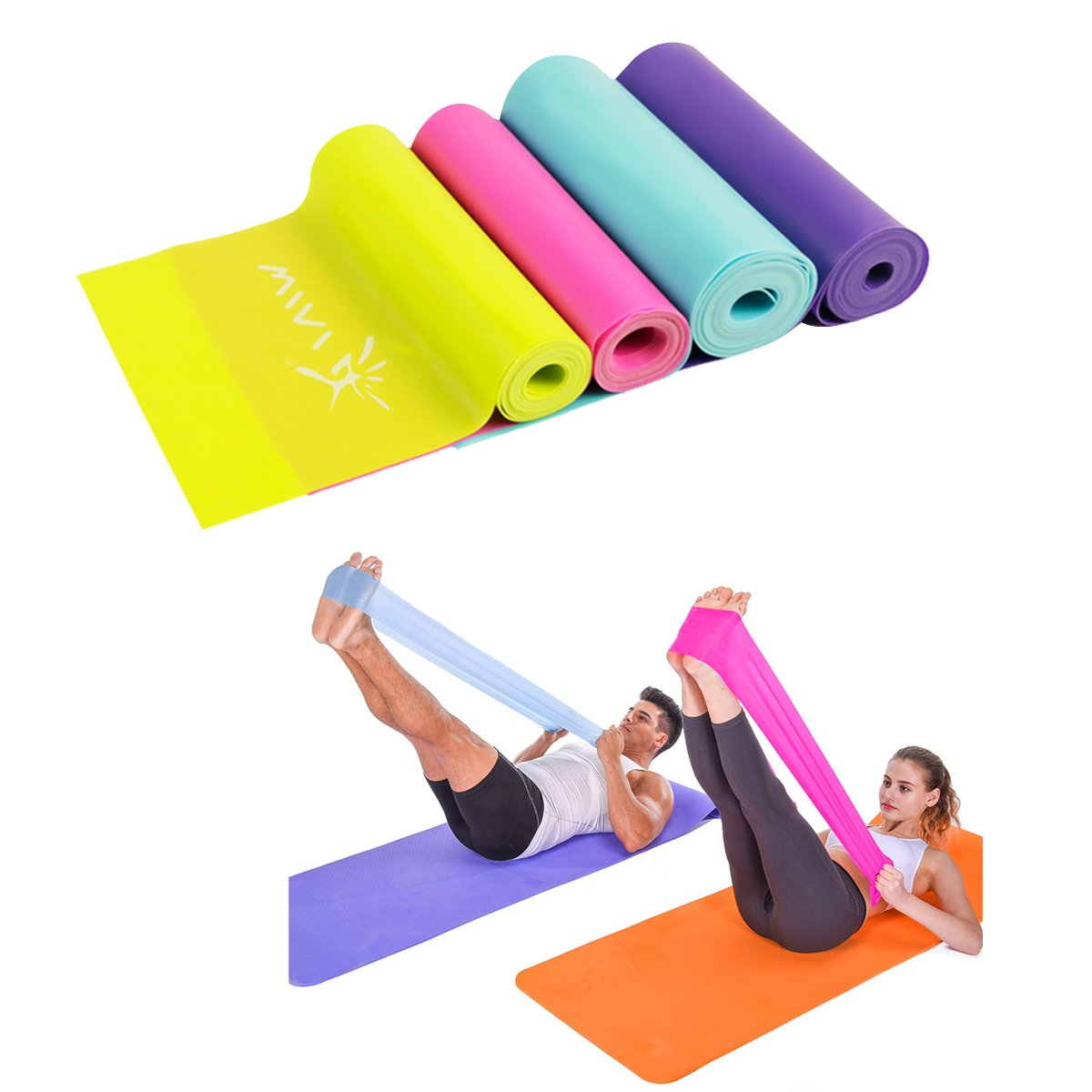 IVIM Latex Free Theraband Long Flat Resistance Bands 1.5/1.8 Meter, Rehab Resistance Bands Exercise Bands Dance Bands for Yoga Pilates Physiotherapy Rehab Home & Gym Green Pink Red Blue
