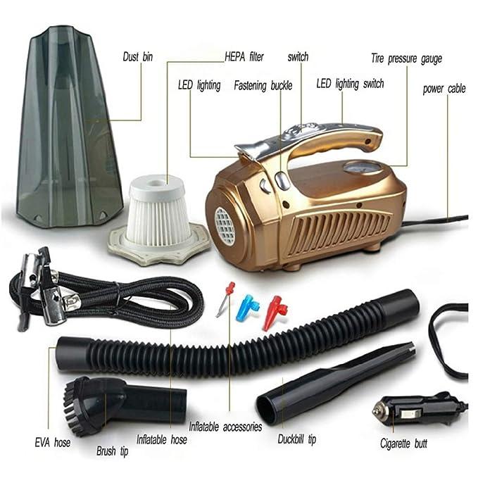 Amazon.com - TQZY Car Vacuum Cleaner, DC 12V 100W 70db Portable Vacuum Cleaner, Wet & Dry Handheld Auto Vacuum Cleaner for Car, 4.5M Power Cord, Gold -
