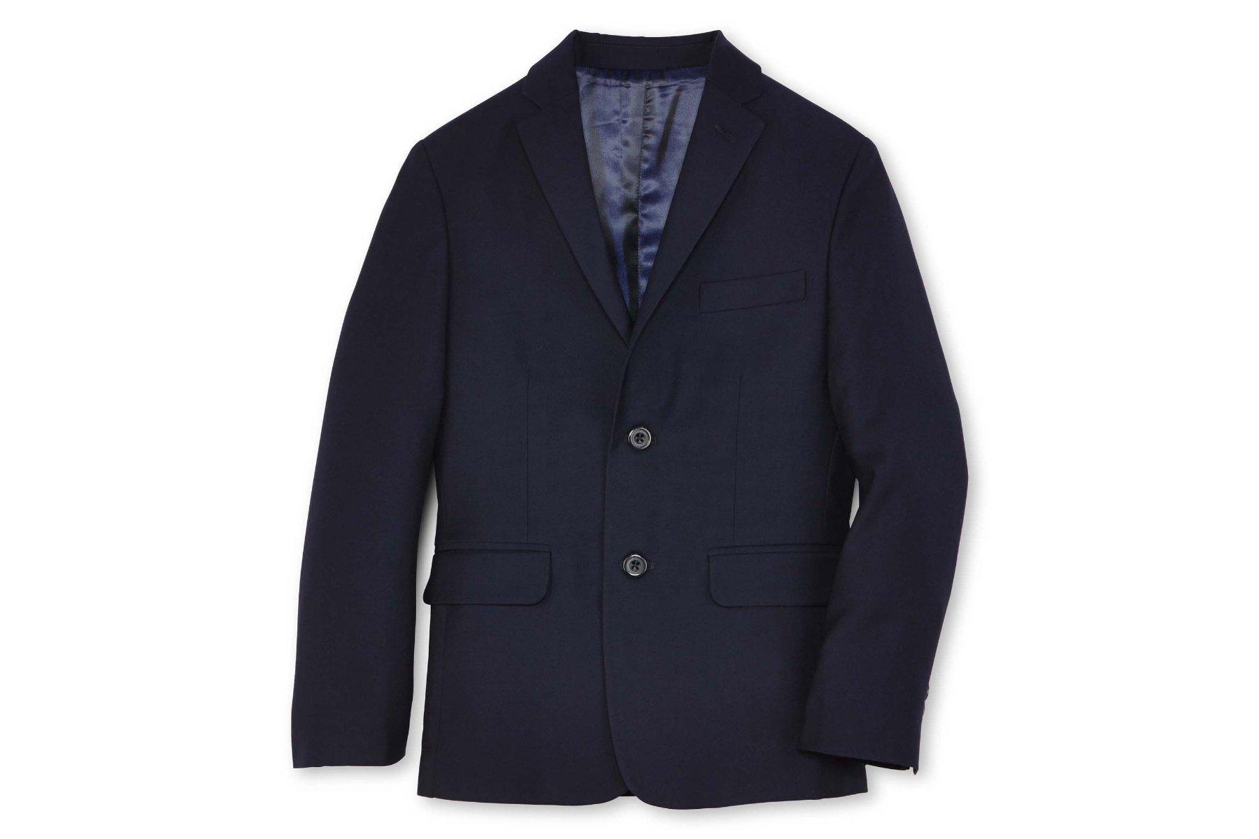 IZOD Boy's Fine Line Husky Suit Jacket Blazer (12H, Navy)