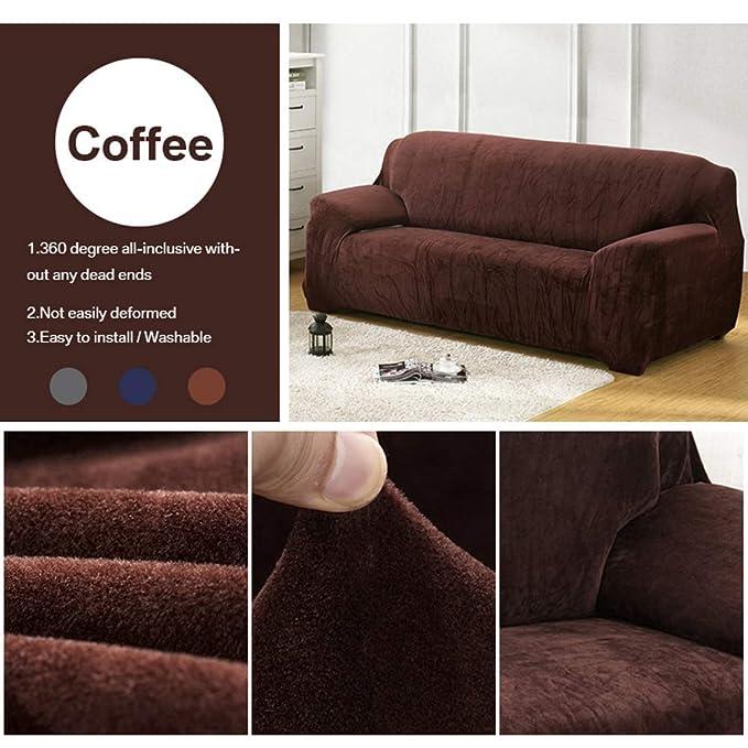 Hazelsha - Fundas de sofá Gruesas de 1/2/3/4 de Color Puro ...