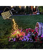 Watering Can with Lights, Large Solar Lanterns Outdoor Hanging Waterproof, Decorative Retro Metal Solar Lights for Table Patio Yard Pathway Walkway