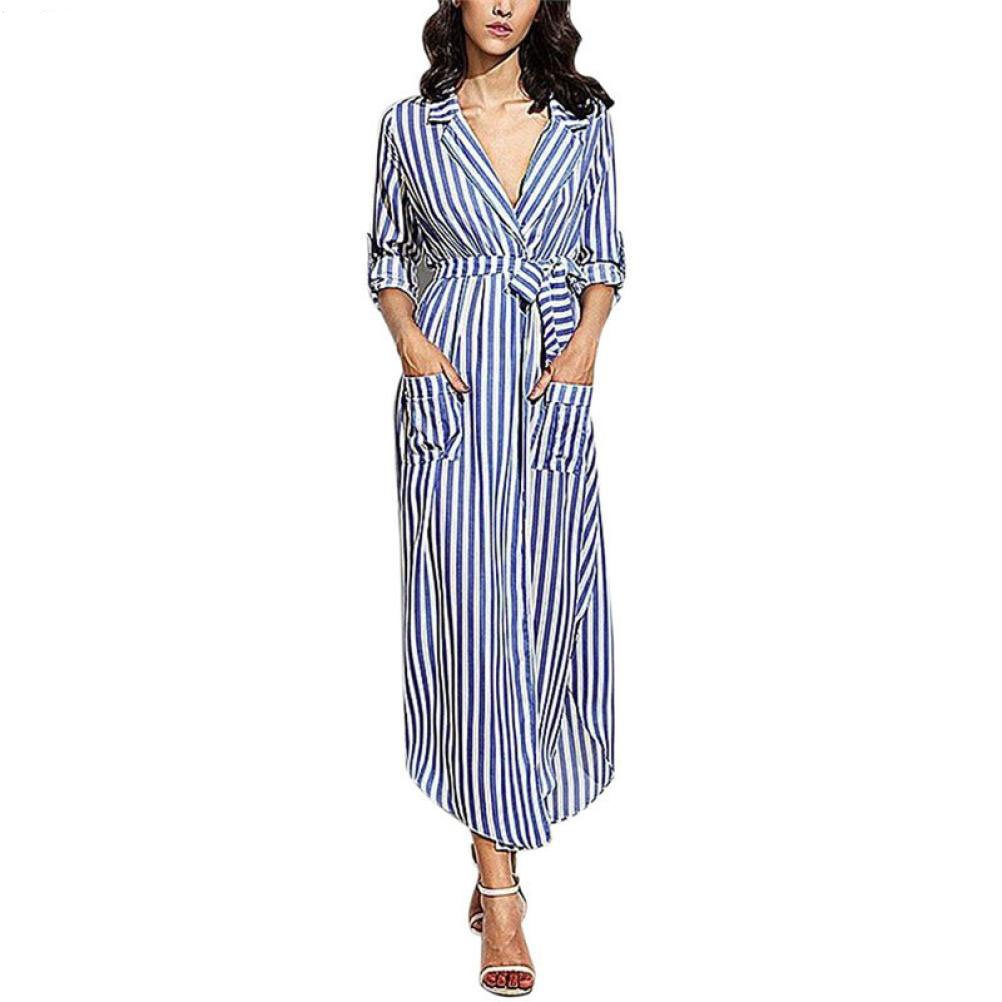 kaifongfu Womens Dress, Stripe Belted Deep V Neck Long Sleeve Top Blouse Long Maxi Dress (L, Blue)