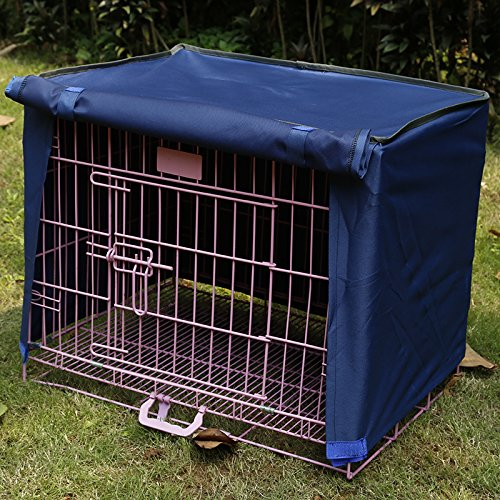 Doglemi Waterproof Pet Crate Cover for Wire Crate Dog Kennel Cage Cover 4sizes (Blue, XL)