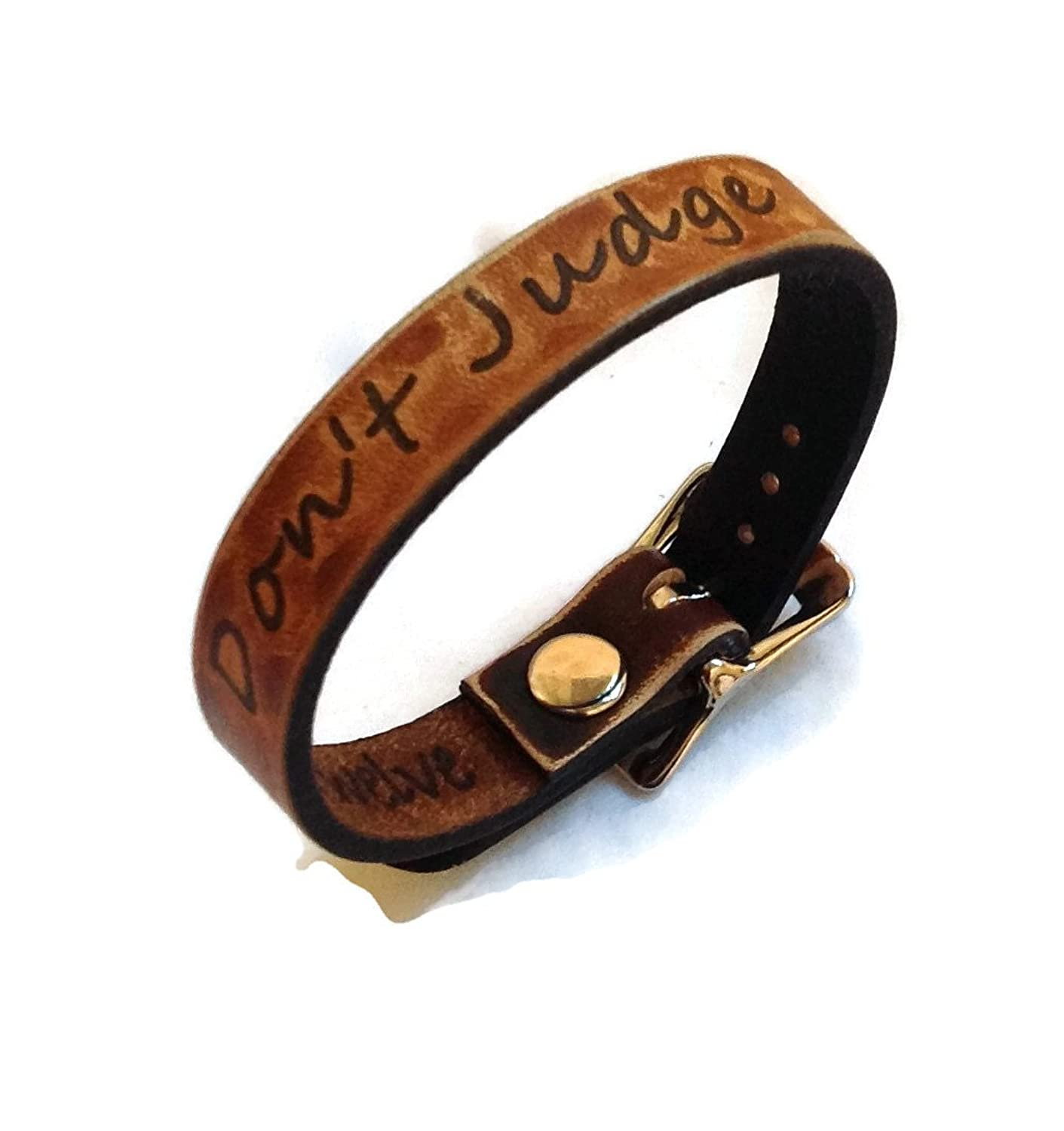 """Don't Judge"" Inspiration Collection Leather Bracelet 1/2"" Wide Made in USA"