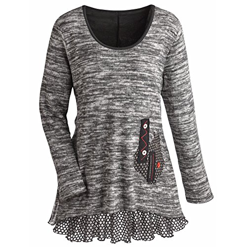 Women's Tunic Top - Heather Gray Knit Sweater With Ruffled Hemline - 2X