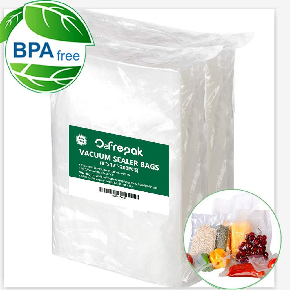 200 Quart Vacuum Sealer Storage Bags Size 8 x 12 Inch for Food Saver, Seal a Meal Vac Sealers BPA Free, Heavy Duty Commercial Grade Freezer & Sous Vide vacuum seal Pre-Cut Bag