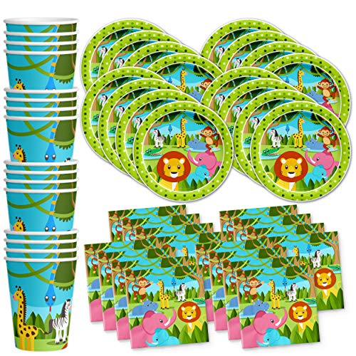 Safari Jungle Animals Birthday Party Supplies Set Plates Napkins Cups Tableware Kit for 16 -