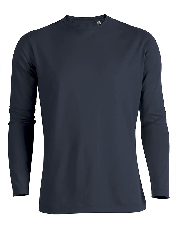 Camiseta de manga larga para hombre con cuello redondo de 100 ...