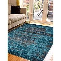 Rugsotic Carpets Machine Made Power Loom Heatset Polypropylene 10X13 Area Rug Silver-Blue M00035