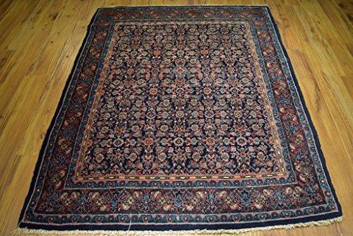 5 x 6 Semi-Antique Persian Rug Farahan Bijar Herati Carpet Navy Blue