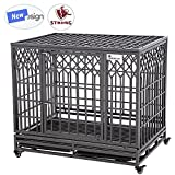 SMONTER 42' Heavy Duty Dog Crate Strong Metal Pet Kennel Playpen with Two Prevent Escape Lock, Large Dogs Cage with Wheels, Y Shape, Dark Silver