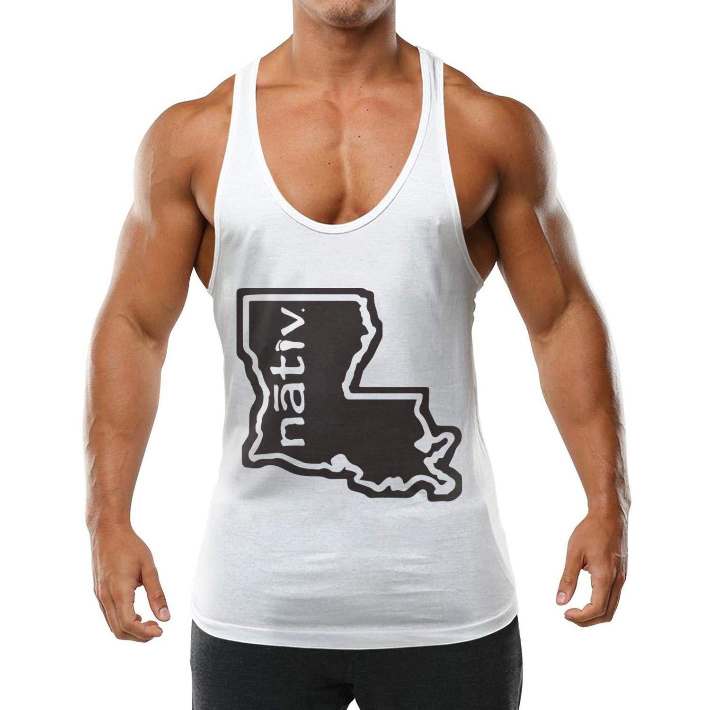 Topstankcc Casual Men Vest Cotton Louisiana Nativ White Active Cold Shoulder T-Shirt by Topstankcc