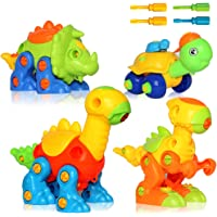Buyger DIY Take Apart Building Toys Assembly 3 Dinosaurs 1 Turtle with 4 Screwdriver Tools(Random Color)
