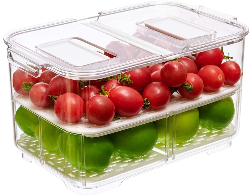 Food Storage Containers Fridge Produce Saver, Stackable Refrigerator Organizer Keeper Foldable lid with Removable Drain Tray for Produce, Fruits, Vegetables 5700ML